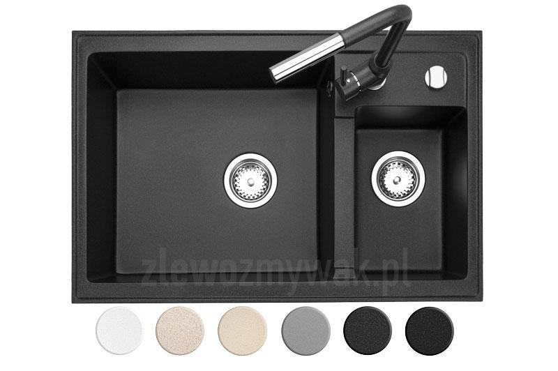 Czarny prostokątny zlew granitowy Leste z baterią stojącą Titanum w kolorze czarnym