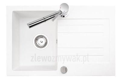 Zlew granitowy Fresco 20 w kolorze białym z chromowaną baterią Expanda