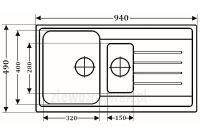 Duży zlewozmywak granitowy ZGR-14A  - wymiary