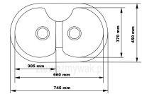 Dwukomorowy zlewozmywak granitowy Aster 40 - rysunek z wymiarami