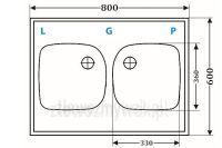 Dwukomorowy zlewozmywak naszafkowy ZGR-02 WYMIARY