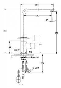 Wymiary baterii kuchennej Titanum z wyciąganą wylewką