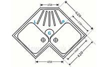 Wymiary zlewozmywaka dwukomorowego do szafki narożnej ZGR-07