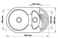 Wymiary zlewozmywaka granitowego 1,5kom - Solano 15