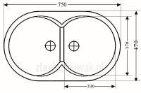 Zlewozmywak granitowy 2komorowy  ZGR-09 - wymiary
