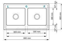 Zlewozmywak granitowy naszafkowy LOGAN - wymiary 80 x 60 cm