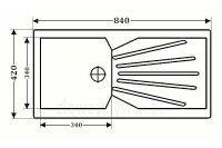 Zlewozmywak granitowy z dużym ociekaczem ZGR-12 - rysunek z wymiarami
