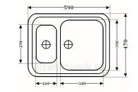 Zlewozmywak kuchenny granitowy 1,5kom ZGR-04 - wymiary